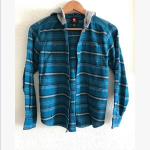 Quicksilver flannel button down with hood sz: Med